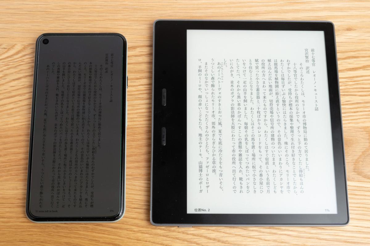 スマートフォンと電子書籍リーダーを明るい場所で比較